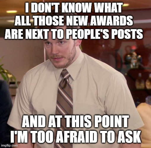 Afraid To Ask Andy |  I DON'T KNOW WHAT ALL THOSE NEW AWARDS ARE NEXT TO PEOPLE'S POSTS; AND AT THIS POINT I'M TOO AFRAID TO ASK | image tagged in memes,afraid to ask andy,memes | made w/ Imgflip meme maker