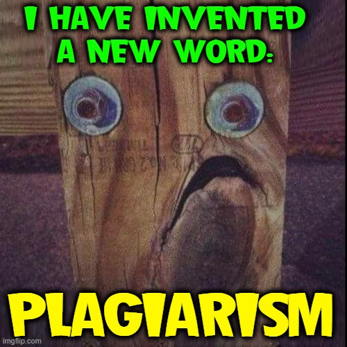 Irony in its Most Pure Form |  I HAVE INVENTED A NEW WORD:; PLAGIARISM | image tagged in vince vance,woody,the plank,funny memes,plagiarism,new memes | made w/ Imgflip meme maker