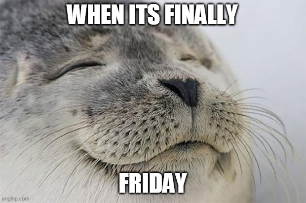Satisfied Seal |  WHEN ITS FINALLY; FRIDAY | image tagged in memes,satisfied seal | made w/ Imgflip meme maker