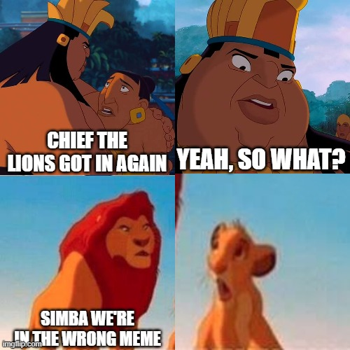 we are safe here |  CHIEF THE LIONS GOT IN AGAIN; YEAH, SO WHAT? SIMBA WE'RE IN THE WRONG MEME | image tagged in we are safe here | made w/ Imgflip meme maker