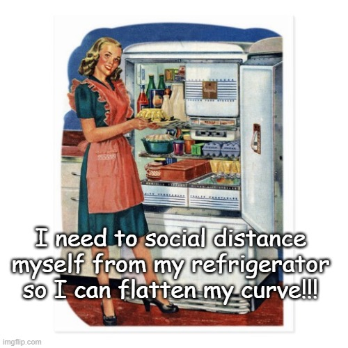 Social Distancing... |  I need to social distance myself from my refrigerator so I can flatten my curve!!! | image tagged in social distance,refrigerator,flatten,curve | made w/ Imgflip meme maker