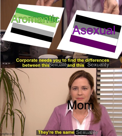 They aren't the same mom- |  Asexual; Aromantic; Sexuality; Sexuality; Mom; Sexuality | image tagged in they're the same picture,sexuality,lgbtq | made w/ Imgflip meme maker