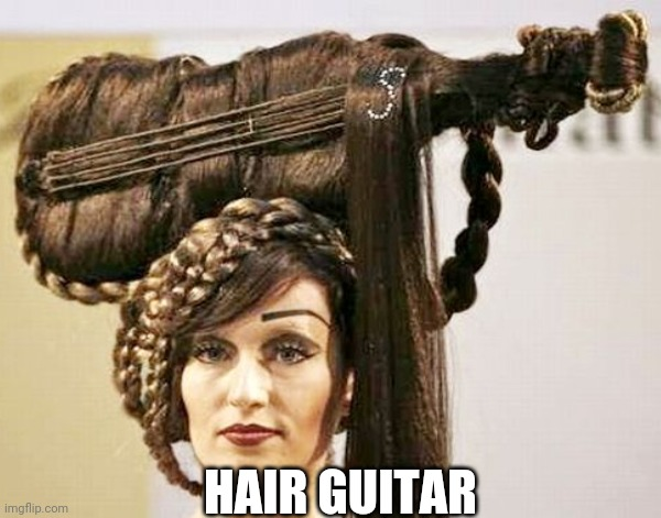 Don't FRET; I'm not here to PICK a fight. |  HAIR GUITAR | image tagged in music,guitar,hairstyle,hair | made w/ Imgflip meme maker
