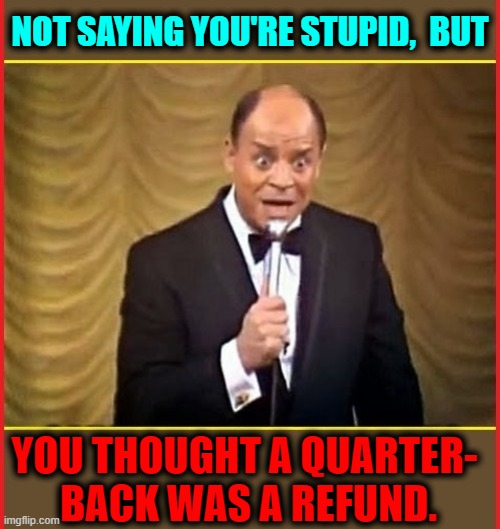 Tribute to the Master of the Insult, the Late, Great Don Rickles |  NOT SAYING YOU'RE STUPID,  BUT; YOU THOUGHT A QUARTER-  BACK WAS A REFUND. | image tagged in vince vance,don rickles,insults,funny memes,old school,comedian | made w/ Imgflip meme maker