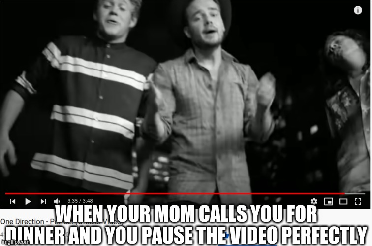 Part two |  WHEN YOUR MOM CALLS YOU FOR DINNER AND YOU PAUSE THE VIDEO PERFECTLY | image tagged in one direction,memes,funny | made w/ Imgflip meme maker