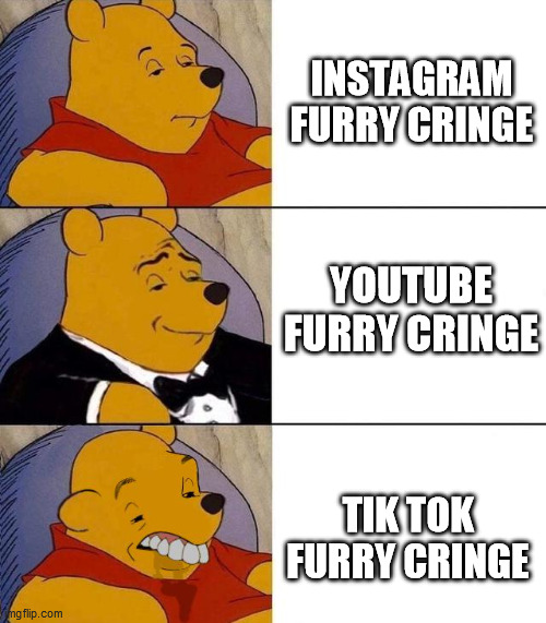 Furry Cringe Comparison |  INSTAGRAM FURRY CRINGE; YOUTUBE FURRY CRINGE; TIK TOK FURRY CRINGE | image tagged in best better blurst,memes,furry memes,the furry fandom,furry,funny | made w/ Imgflip meme maker
