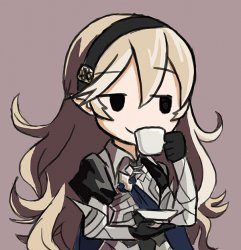 Corrin Being Smug While Drinking Tea Meme Template