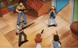 Ash Ketchum gets guns pointed at him Meme Template