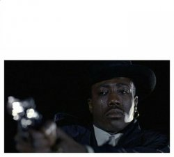 Crying Black Guy with a Gun Meme Template