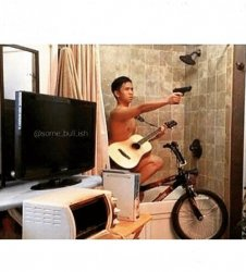 Riding a bicycle in the shower when you hear a noise Meme Template
