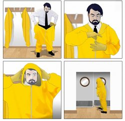 Man Wears Protective Suit Before Opening The Door Meme Template