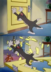 Tom Holds The Door Jerry Is Strong Meme Template