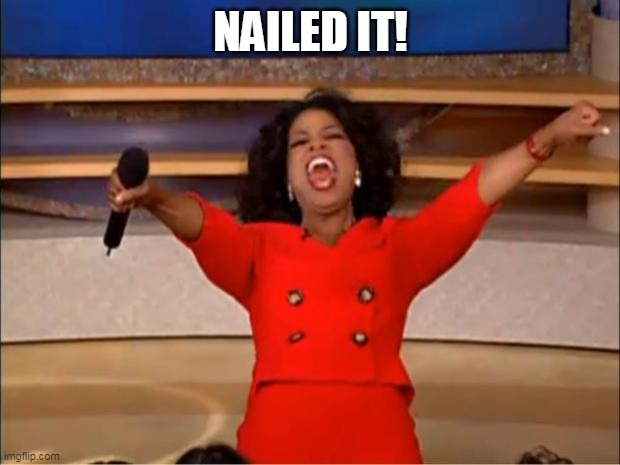 Oprah You Get A Meme | NAILED IT! | image tagged in memes,oprah you get a | made w/ Imgflip meme maker