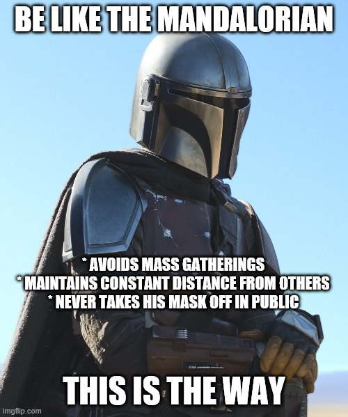 Be like the Mandalorian |  BE LIKE THE MANDALORIAN; * AVOIDS MASS GATHERINGS * MAINTAINS CONSTANT DISTANCE FROM OTHERS * NEVER TAKES HIS MASK OFF IN PUBLIC; THIS IS THE WAY | image tagged in mandalorian,covid19 | made w/ Imgflip meme maker