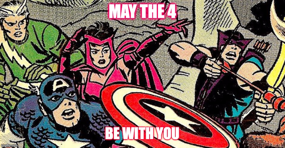 May the 4 Be With You -- Cap Kooky Quartet |  MAY THE 4; BE WITH YOU | image tagged in avengers,marvel,may the 4th,may the fourth be with you,may the fourth,captain america | made w/ Imgflip meme maker