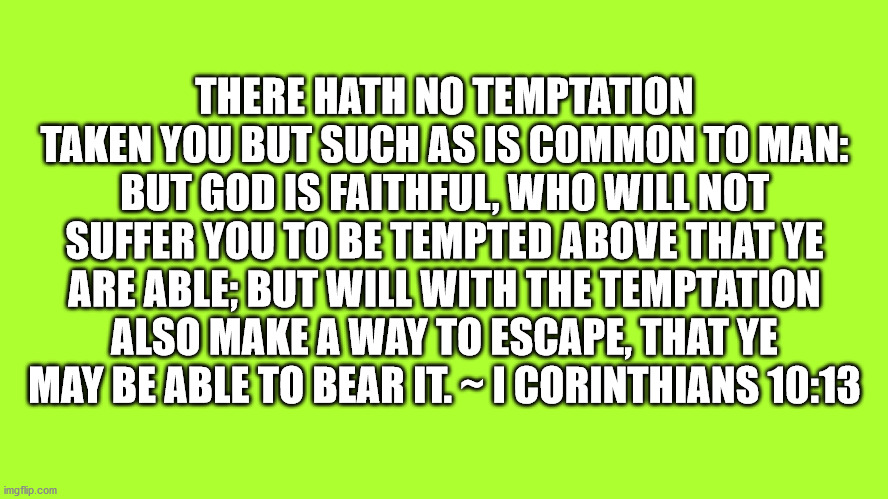 1 Corinthians 10:13 |  THERE HATH NO TEMPTATION TAKEN YOU BUT SUCH AS IS COMMON TO MAN: BUT GOD IS FAITHFUL, WHO WILL NOT SUFFER YOU TO BE TEMPTED ABOVE THAT YE ARE ABLE; BUT WILL WITH THE TEMPTATION ALSO MAKE A WAY TO ESCAPE, THAT YE MAY BE ABLE TO BEAR IT. ~ I CORINTHIANS 10:13 | image tagged in bible verse,1 corinthians,temptation | made w/ Imgflip meme maker