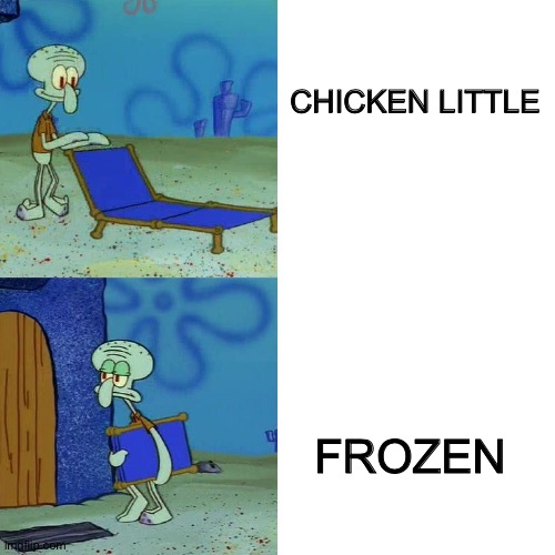 Squidward chair |  CHICKEN LITTLE; FROZEN | image tagged in squidward chair | made w/ Imgflip meme maker