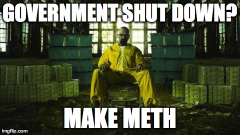 GOVERNMENT SHUT DOWN? MAKE METH | image tagged in walt,breaking bad | made w/ Imgflip meme maker