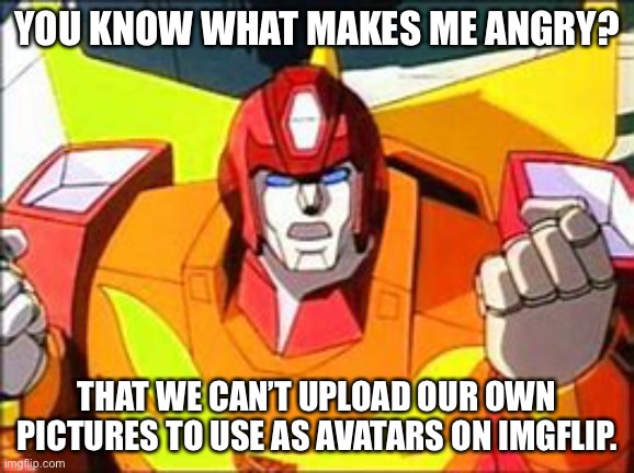 We can do it anywhere else, why not here?! |  YOU KNOW WHAT MAKES ME ANGRY? THAT WE CAN'T UPLOAD OUR OWN PICTURES TO USE AS AVATARS ON IMGFLIP. | image tagged in memes,angery hot rod,avatar | made w/ Imgflip meme maker