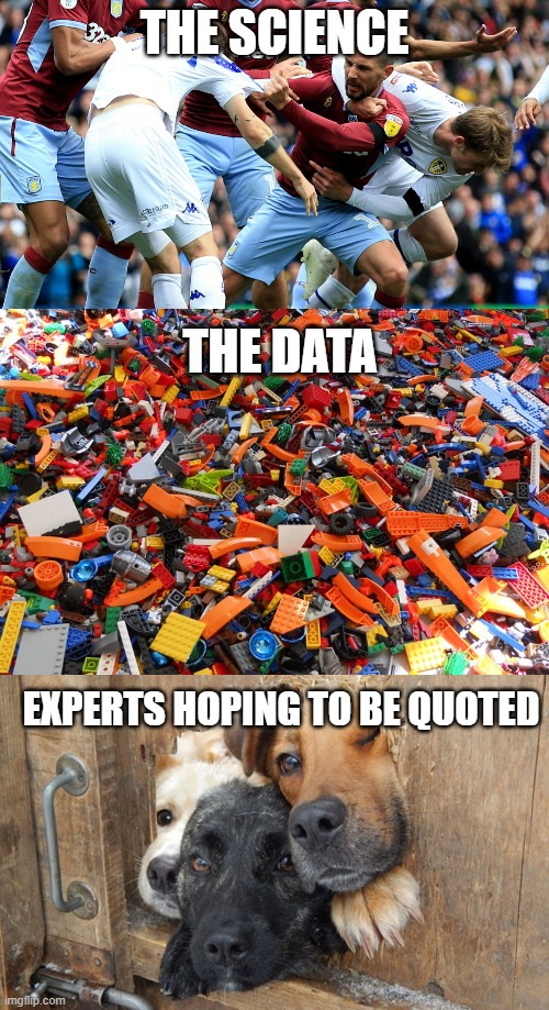 COVID-19 Media Debate |  THE SCIENCE; THE DATA; EXPERTS HOPING TO BE QUOTED | image tagged in covid-19 | made w/ Imgflip meme maker