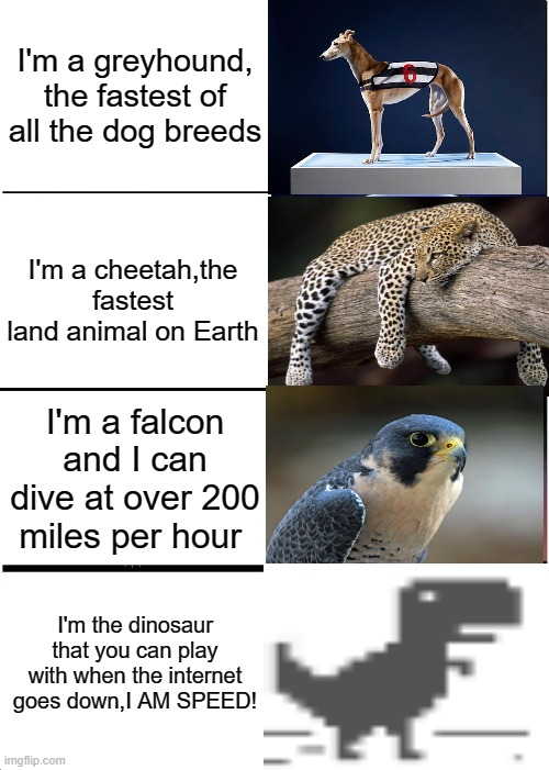 The Fastest Animals on Earth |  I'm a greyhound, the fastest of all the dog breeds; I'm a cheetah,the fastest land animal on Earth; I'm a falcon and I can dive at over 200 miles per hour; I'm the dinosaur that you can play with when the internet goes down,I AM SPEED! | image tagged in memes,expanding brain,cheetah,falcons,no internet | made w/ Imgflip meme maker