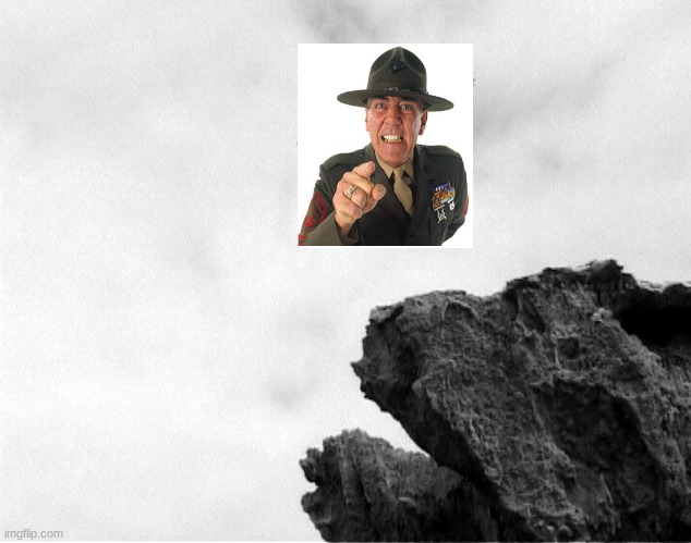 Marine in a ravine | image tagged in man jumping off a cliff | made w/ Imgflip meme maker