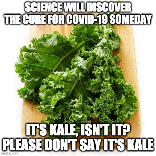 Kale Is The Cure |  SCIENCE WILL DISCOVER THE CURE FOR COVID-19 SOMEDAY; IT'S KALE, ISN'T IT? PLEASE DON'T SAY IT'S KALE | image tagged in kale | made w/ Imgflip meme maker