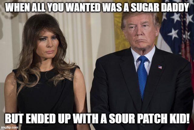 Donald & Melania |  WHEN ALL YOU WANTED WAS A SUGAR DADDY; BUT ENDED UP WITH A SOUR PATCH KID! | image tagged in melania trump,donald trump | made w/ Imgflip meme maker