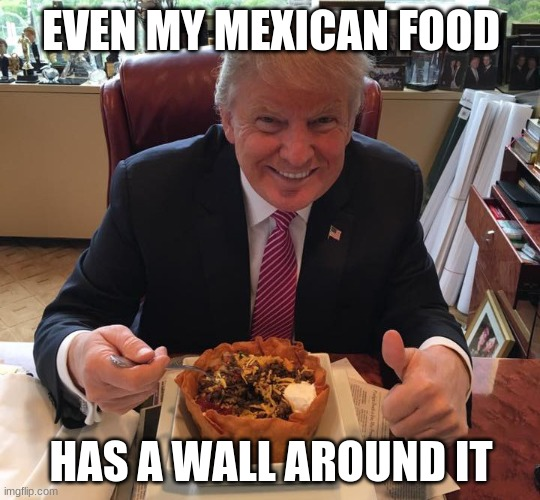 brhu |  EVEN MY MEXICAN FOOD; HAS A WALL AROUND IT | image tagged in donald trump | made w/ Imgflip meme maker