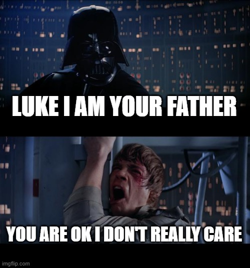 Star Wars No Meme |  LUKE I AM YOUR FATHER; YOU ARE OK I DON'T REALLY CARE | image tagged in memes,star wars no | made w/ Imgflip meme maker