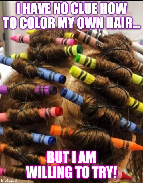 sometimes a girls gotta do, what a girl don't know how to do |  I HAVE NO CLUE HOW TO COLOR MY OWN HAIR... BUT I AM WILLING TO TRY! | image tagged in hairstyle,hair,color,crayons,diy fails | made w/ Imgflip meme maker