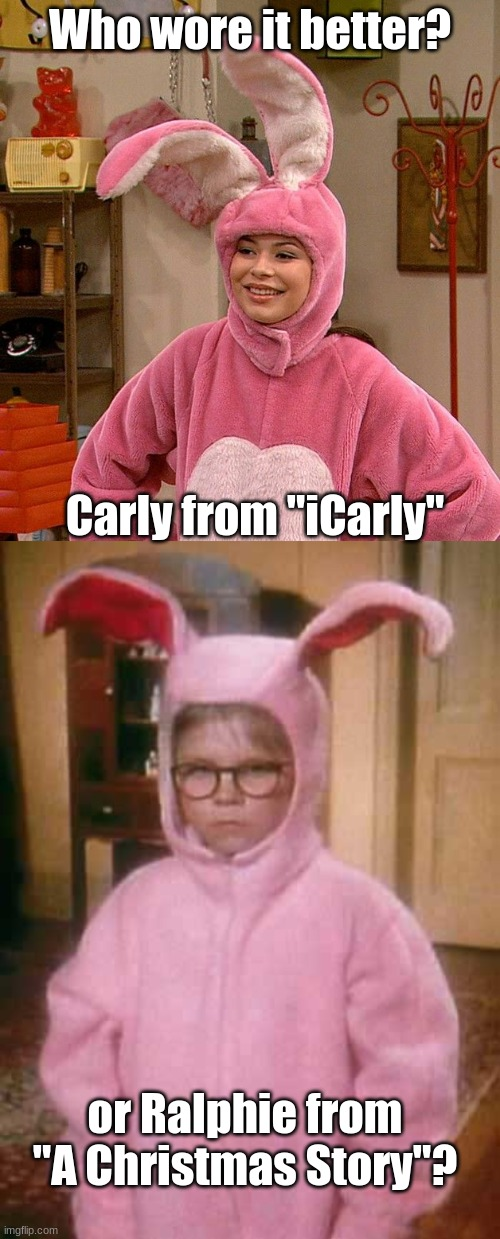 "Who Wore It Better Wednesday #1 - Pink bunnies |  Who wore it better? Carly from ""iCarly""; or Ralphie from ""A Christmas Story""? 