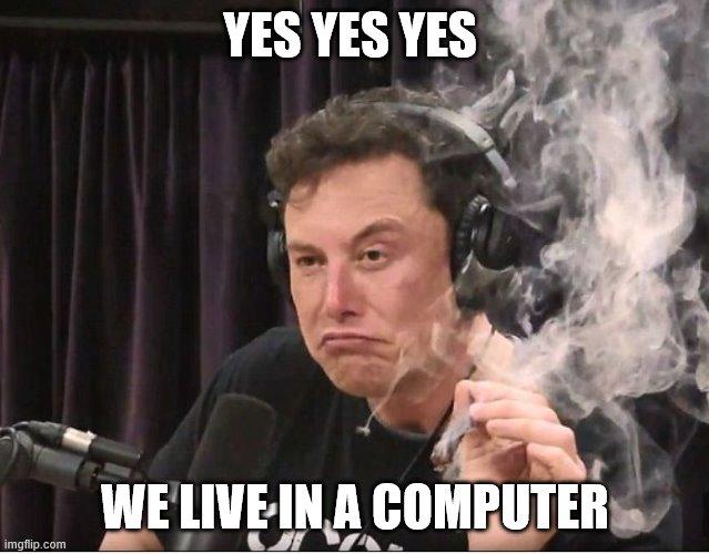 Elon Musk smoking a joint |  YES YES YES; WE LIVE IN A COMPUTER | image tagged in elon musk smoking a joint | made w/ Imgflip meme maker