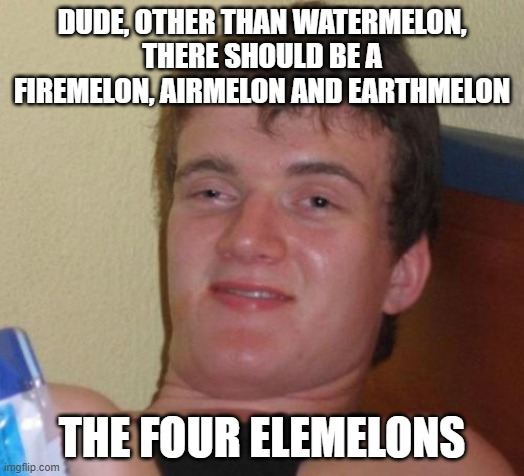 10 Guy |  DUDE, OTHER THAN WATERMELON, THERE SHOULD BE A FIREMELON, AIRMELON AND EARTHMELON; THE FOUR ELEMELONS | image tagged in memes,10 guy | made w/ Imgflip meme maker