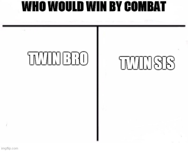 Twin battle! |  TWIN SIS; TWIN BRO | image tagged in who would win by combat | made w/ Imgflip meme maker