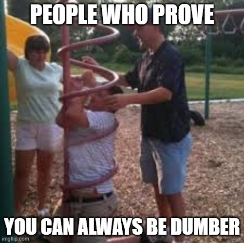 PEOPLE WHO PROVE; YOU CAN ALWAYS BE DUMBER | image tagged in funny,memes,epic fail,stuck,lol so funny | made w/ Imgflip meme maker