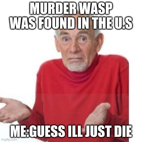 I guess ill die |  MURDER WASP WAS FOUND IN THE U.S; ME:GUESS ILL JUST DIE | image tagged in i guess ill die | made w/ Imgflip meme maker