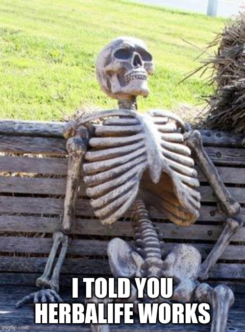 Waiting Skeleton Meme |  I TOLD YOU HERBALIFE WORKS | image tagged in memes,waiting skeleton,funny | made w/ Imgflip meme maker