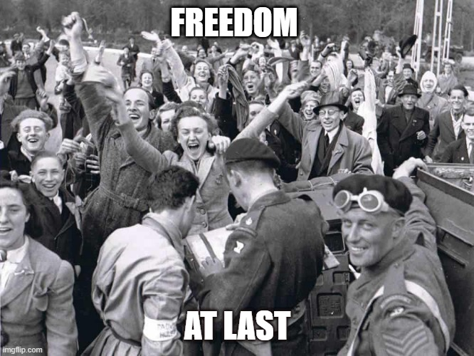 Allies save the day |  FREEDOM; AT LAST | image tagged in history,home | made w/ Imgflip meme maker
