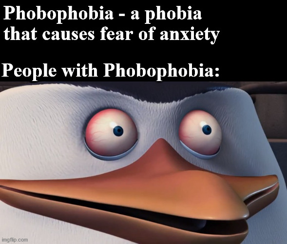 Phobophobia |  Phobophobia - a phobia that causes fear of anxiety; People with Phobophobia: | image tagged in shook skipper,funny,memes,psychology,pawello18 | made w/ Imgflip meme maker