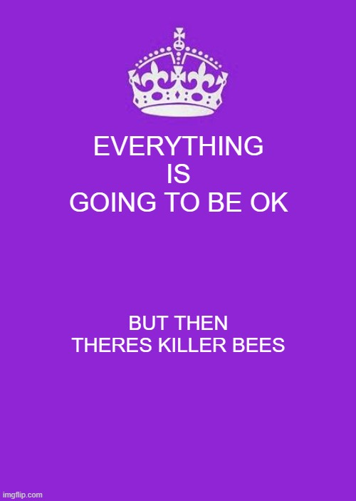 Keep Calm And Carry On Purple |  EVERYTHING IS GOING TO BE OK; BUT THEN THERES KILLER BEES | image tagged in memes,keep calm and carry on purple | made w/ Imgflip meme maker
