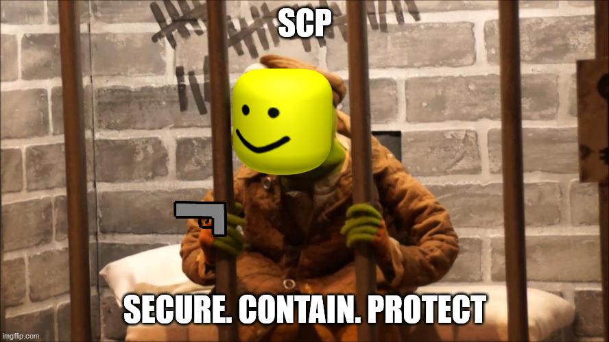 Kermit in jail |  SCP; SECURE. CONTAIN. PROTECT | image tagged in kermit in jail | made w/ Imgflip meme maker