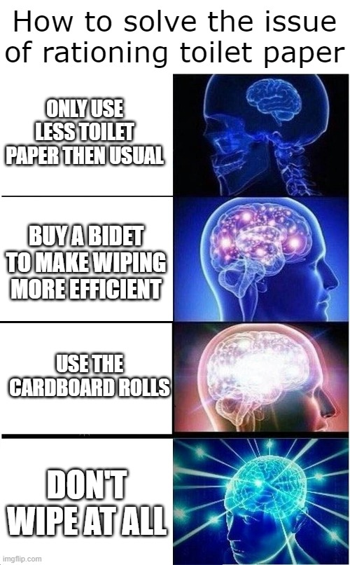 Toilet Paper Brain |  How to solve the issue of rationing toilet paper; ONLY USE LESS TOILET PAPER THEN USUAL; BUY A BIDET TO MAKE WIPING MORE EFFICIENT; USE THE CARDBOARD ROLLS; DON'T WIPE AT ALL | image tagged in memes,expanding brain,image,meme | made w/ Imgflip meme maker