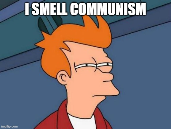 Futurama Fry Meme | I SMELL COMMUNISM | image tagged in memes,futurama fry | made w/ Imgflip meme maker