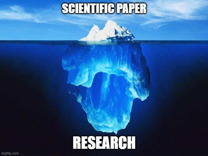 Tip of an Iceberg |  SCIENTIFIC PAPER; RESEARCH | image tagged in memes,scientist,mathematics | made w/ Imgflip meme maker
