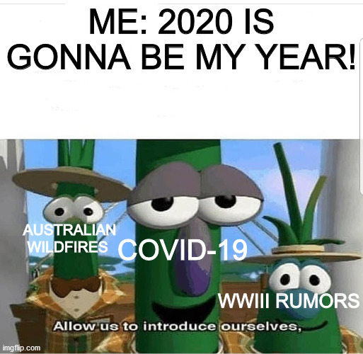 Allow us to introduce ourselves |  ME: 2020 IS GONNA BE MY YEAR! COVID-19; AUSTRALIAN WILDFIRES; WWIII RUMORS | image tagged in allow us to introduce ourselves | made w/ Imgflip meme maker