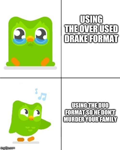 USING THE OVER USED DRAKE FORMAT; USING THE DUO FORMAT SO HE DON'T MURDER YOUR FAMILY | image tagged in duolingo drake meme,duolingo bird,duolingo,drake hotline bling,funny,memes | made w/ Imgflip meme maker