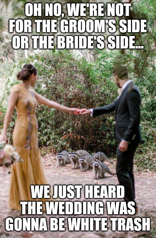 OH NO, WE'RE NOT FOR THE GROOM'S SIDE OR THE BRIDE'S SIDE... WE JUST HEARD THE WEDDING WAS GONNA BE WHITE TRASH | image tagged in dark humor,wedding crashers,white trash,animals to humans | made w/ Imgflip meme maker