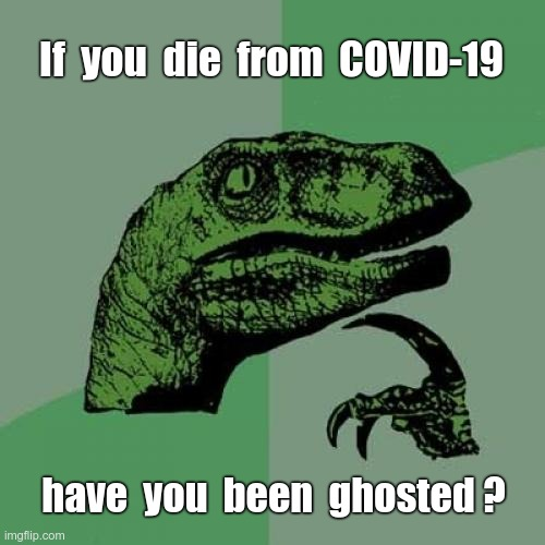 Ghosted? |  If  you  die  from  COVID-19; have  you  been  ghosted ? | image tagged in philosoraptor,sick_covid stream,covid-19,rick75230,dark humor | made w/ Imgflip meme maker