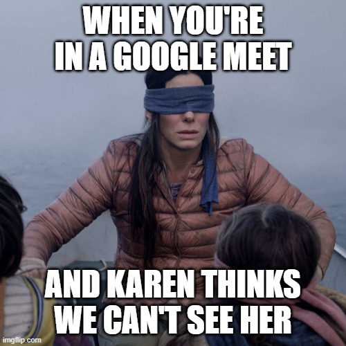 google meet |  WHEN YOU'RE IN A GOOGLE MEET; AND KAREN THINKS WE CAN'T SEE HER | image tagged in memes,bird box | made w/ Imgflip meme maker
